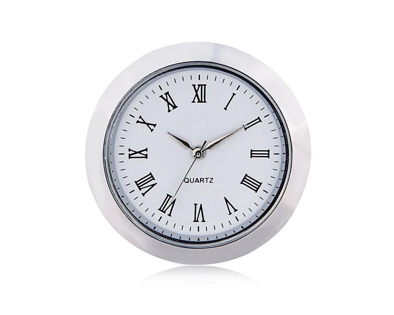 Mini Clock Quartz Movement Insert Round 1 7/16 (35mm) White Face Silver Tone Bezel Roman Numerals Watch Face